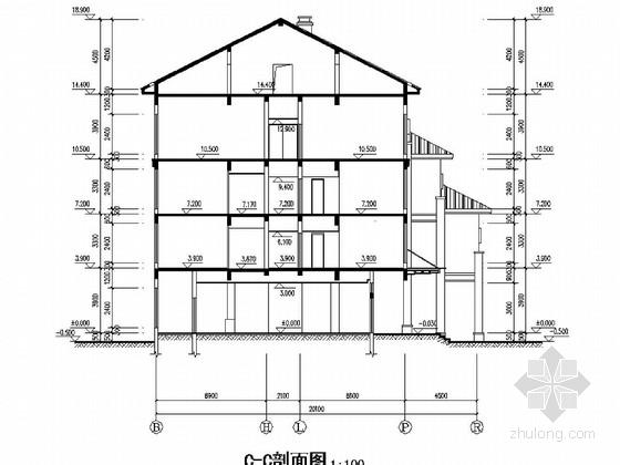 杭州某砖混底框宾馆建筑结构图