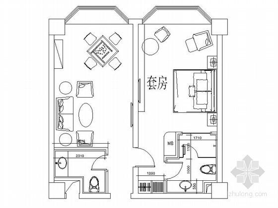 某大型花园酒店标准客房平面CAD图块下载