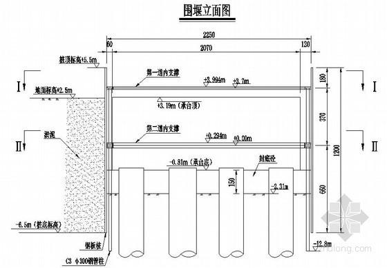 温福铁路某特大桥某墩承台钢板桩围堰内支撑结构图