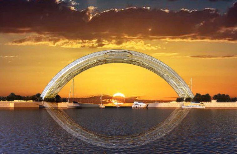 """国内首座全钢架玻璃拱桥""""黄海之眼""""开工!"""