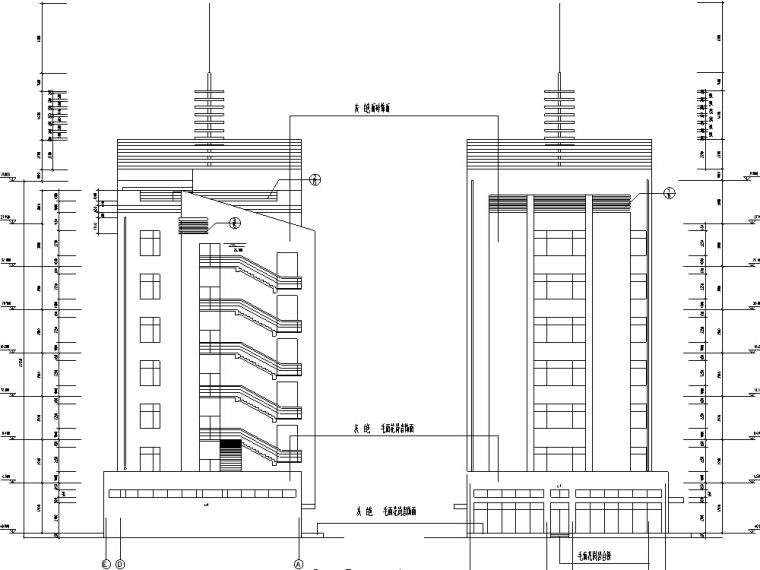 上海某现代商住综合楼建筑设计施工图CAD