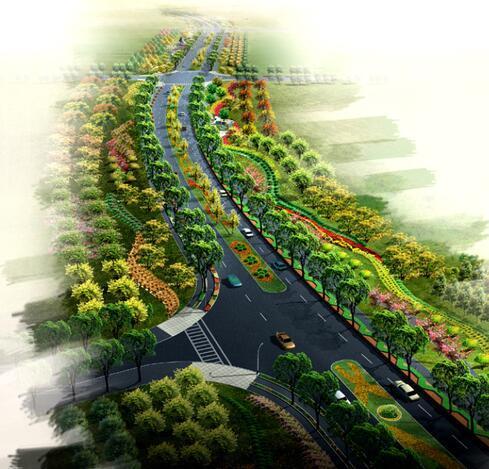 [上海]新江湾城道路景观绿化带全套设计文本(知识,生态)-新江湾城道路景观绿化带-鸟瞰图