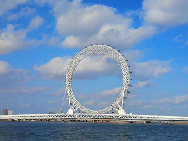 求十五跨钢构拱桥施工效果图