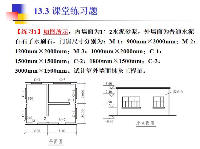 [全国]墙柱面工程工程量清单及计价(共41页)-课堂练习题