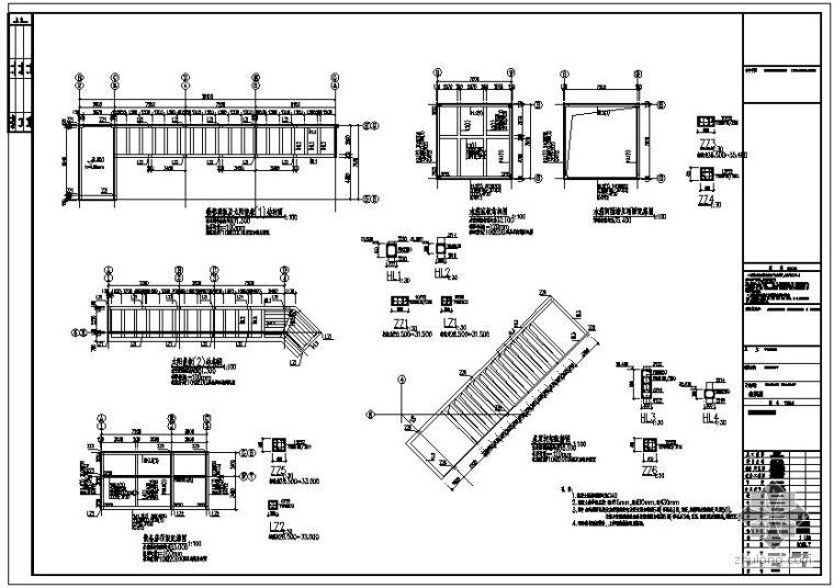 某屋顶太阳能板及水箱节点构造详图