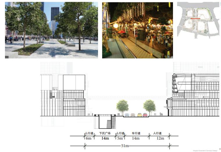 [浙江]休闲开放商业绿地景观概念设计-道路剖面图