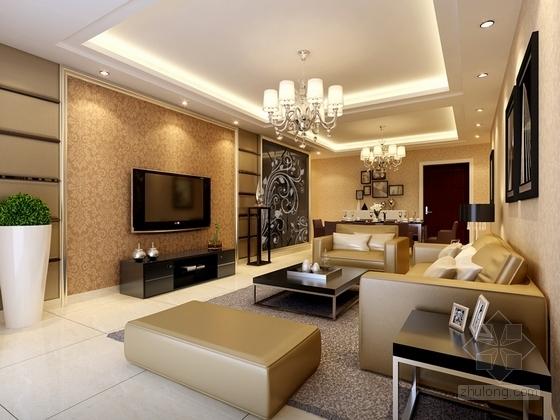 [杭州]现代简约风格两居室装修施工图(含效果图) 效果图
