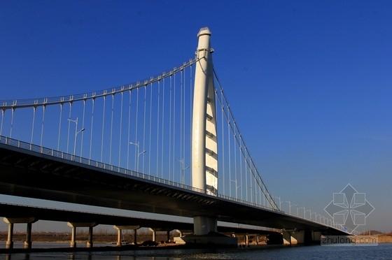 主跨180m四跨连续独塔自锚式钢箱梁景观悬索桥全套施工图(460张 BT工程 鲁班奖)
