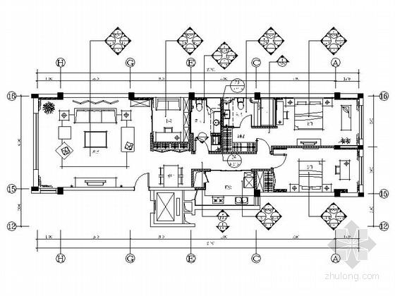 [北京]温馨现代简约2居室室内设计全套CAD施工图(含效果图)