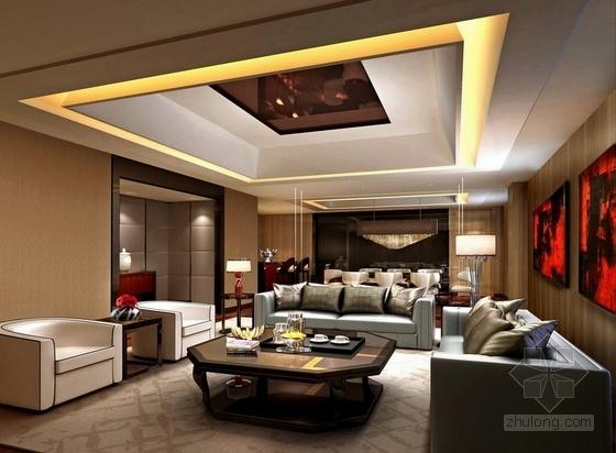 [湖南]别具一格奢华高档五星级商务酒店设计方案大堂吧效果图