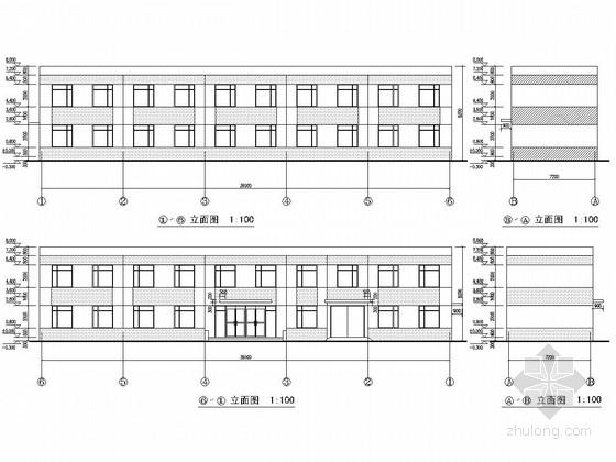 两层框架结构专业化集装箱泊位工程修箱综合用房结构图(含建筑图)