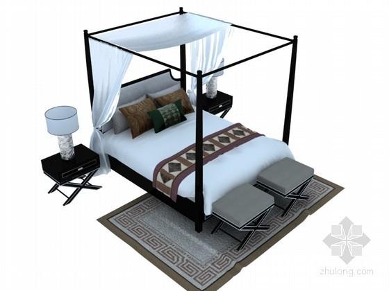 复古双人床3D模型下载