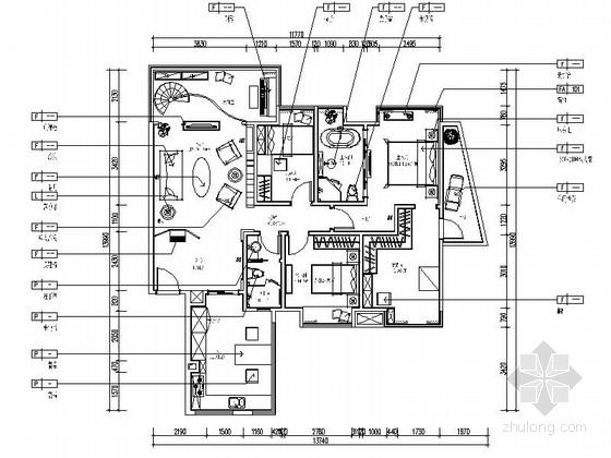 [原创]知名地产商清新别致四居室样板房施工图(含效果图)