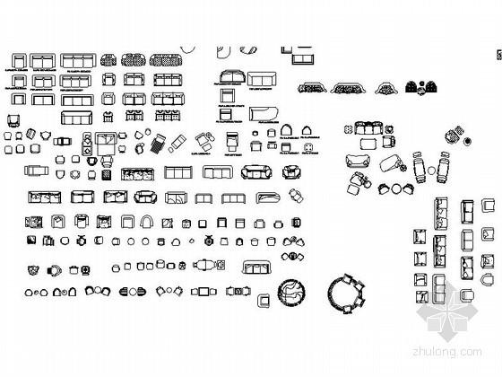 超全客厅沙发CAD图块下载