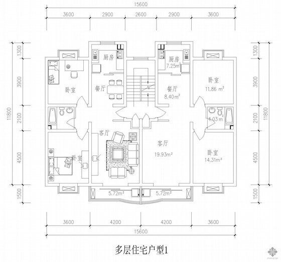板式多层一梯二户户型图(93/93)