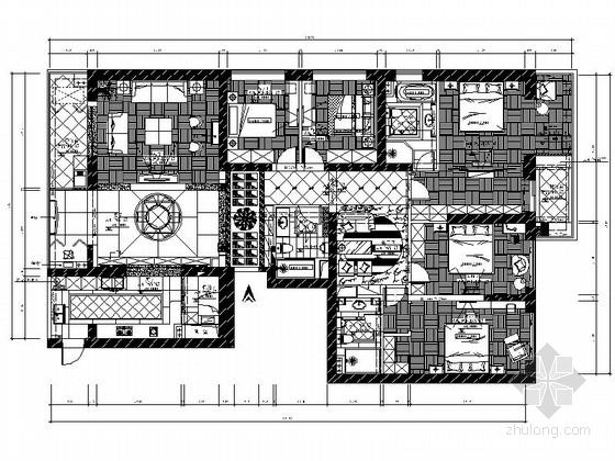 [福建]豪华欧式设计六居室装修施工图(含效果)