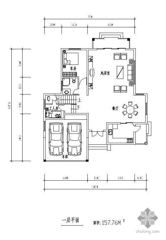 三层独栋别墅户型图(158/129/73)