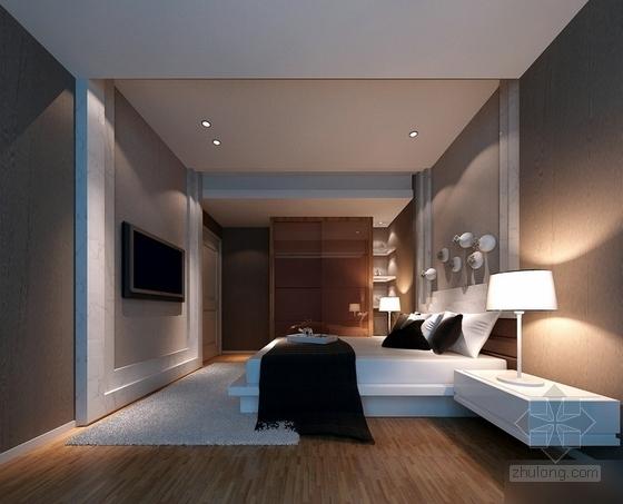 [福州]特色时尚住宅区现代简约两居室样板房装修图(含效果)卧室效果图
