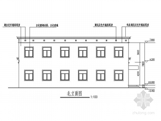 两层简洁高级中学食堂立面图