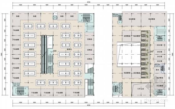 [四川]L型现代风格标准化农贸市场单体建筑设计方案文本-L型现代风格标准化农贸市场单体建筑平面图