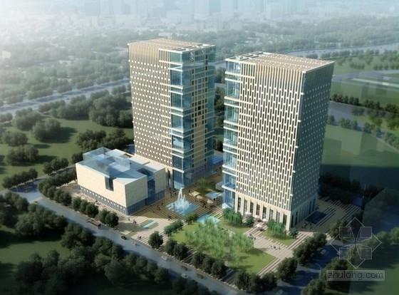 [南京]高层自然表皮对称式双塔办公楼建筑设计方案文本