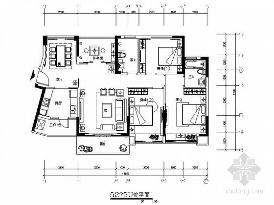 [广东]高端小区经典中式风格三居室室内装修施工图