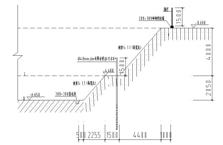 住宅楼工程基坑降水施工方案-深基坑剖面图