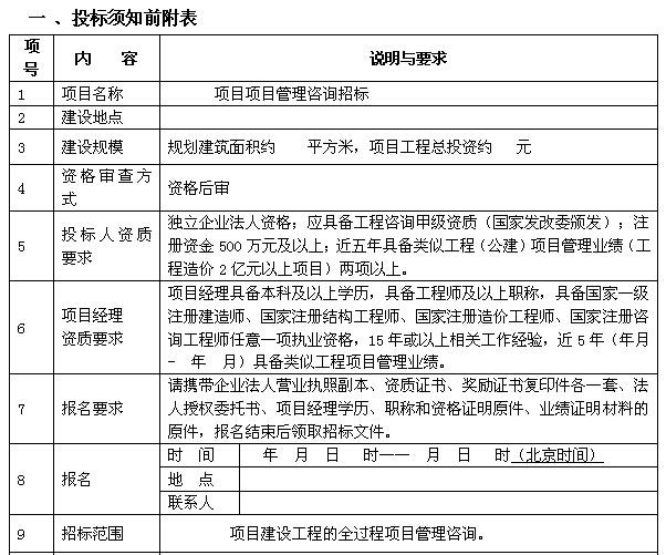 建筑工程项目管理咨询招标(范本)