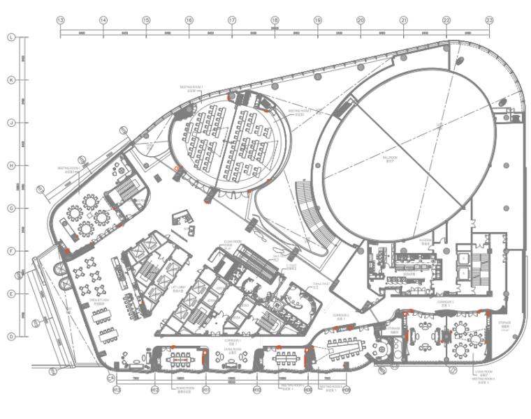 [陕西]君悦特色酒店公区设计施工图+效果图-3四层平面布置图