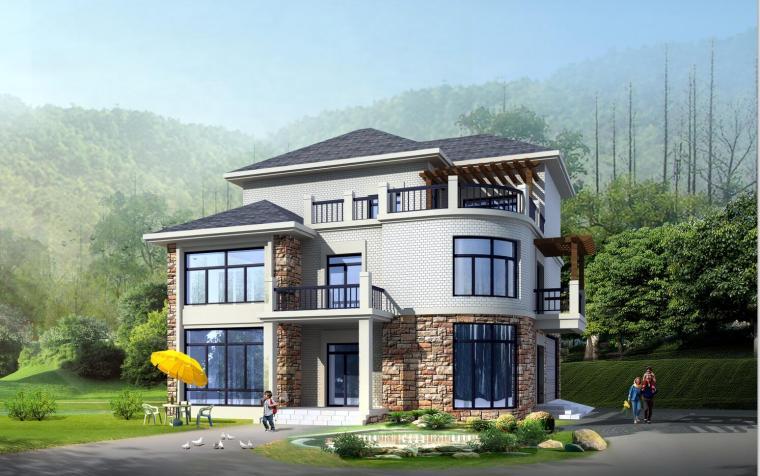三层独栋框架结构别墅建筑设计