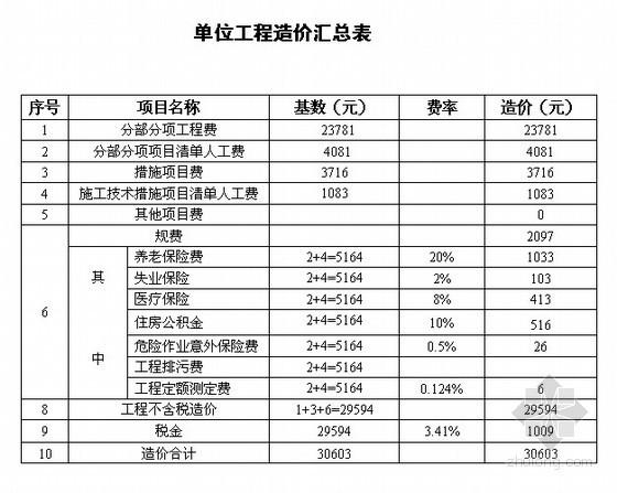 办公楼土建工程量清单计价实例(含钢筋工程量计算)
