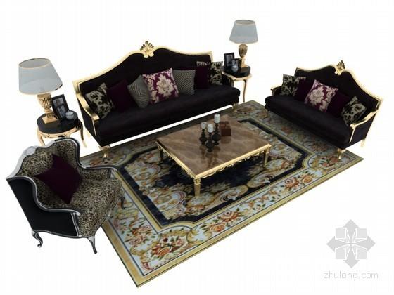 华丽欧式沙发3D模型下载