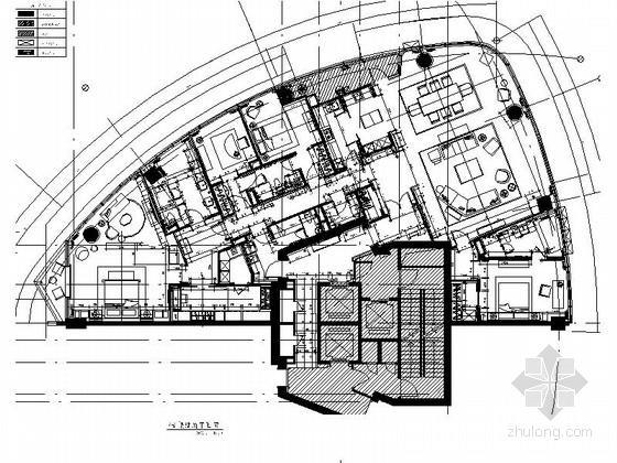 [上海]滨江核心区豪华五居室样板房室内装修施工图(含方案及效果图)