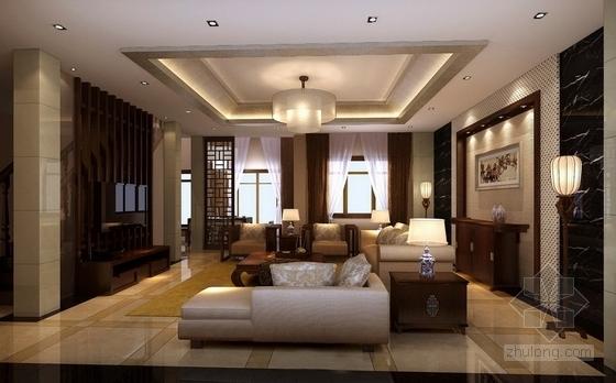 [昆山]新古典双层别墅样板房装修图(含效果)客厅效果图