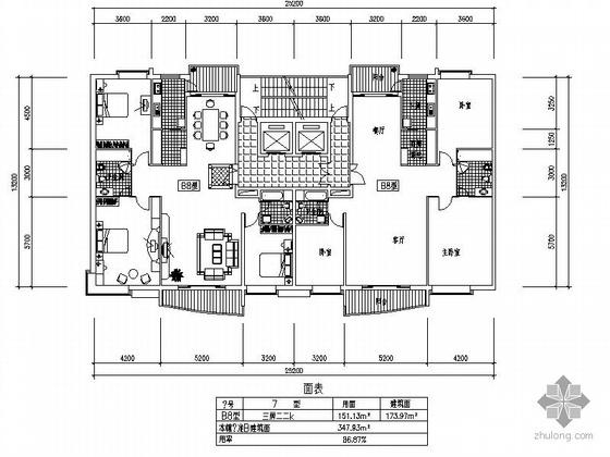 板式高层一梯两户三室两厅方案图(174/174)