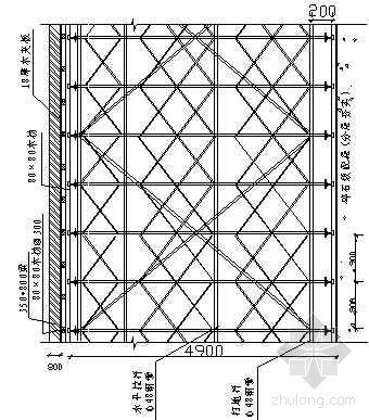 5.5米层高梁模板支撑搭设立面图