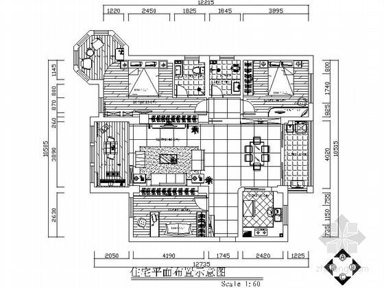 黑白经典三居室装修施工图(含效果图)