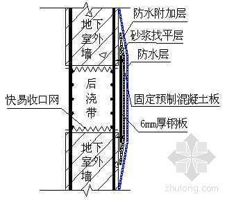 地下室外墙后浇带防水附加处理示意图