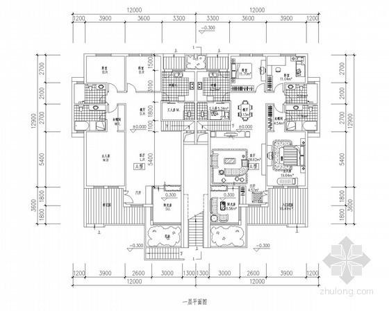 [北京]某叠拼别墅首层户型平面图(160平方米)