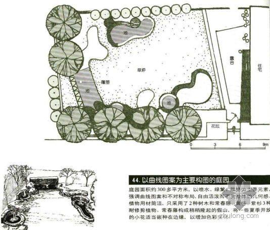 曲线构图的庭园景观设计图