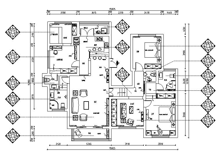 [贵州]地中海风格200平米四居室住宅设计施工图(附效果图)