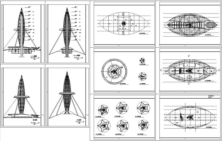 火箭型观光塔建筑设计方案初设图CAD-8