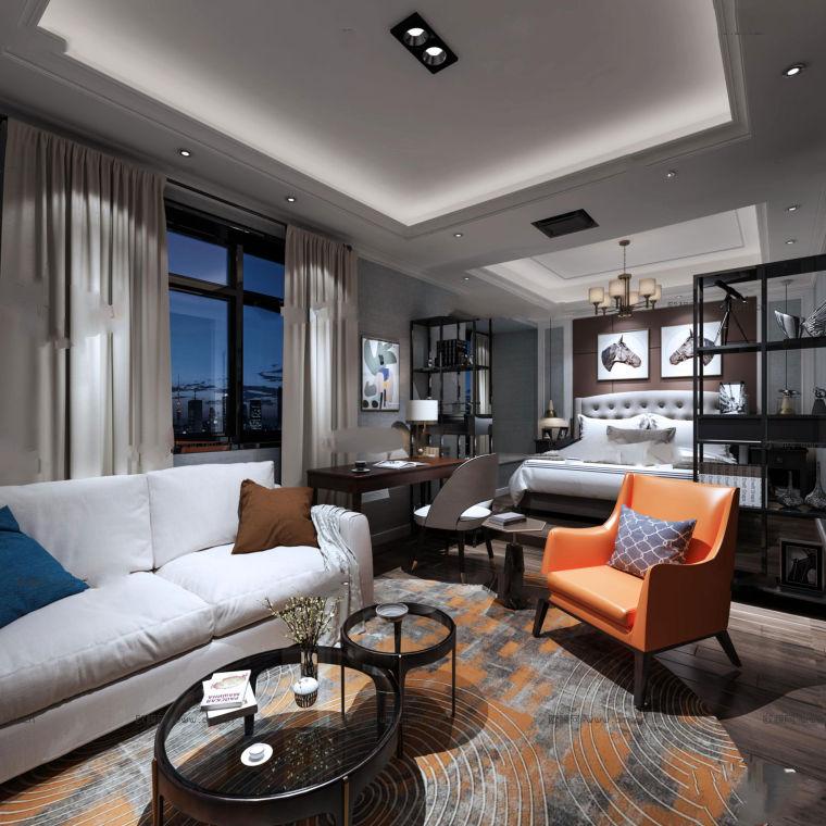 现代风格卧室主人房3D模型