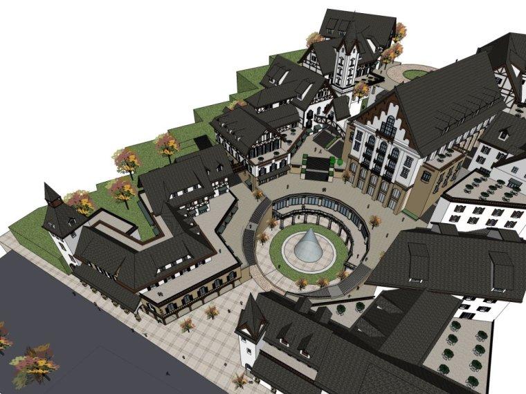 西方新古典风格商业街,2-5层设计(su模型)