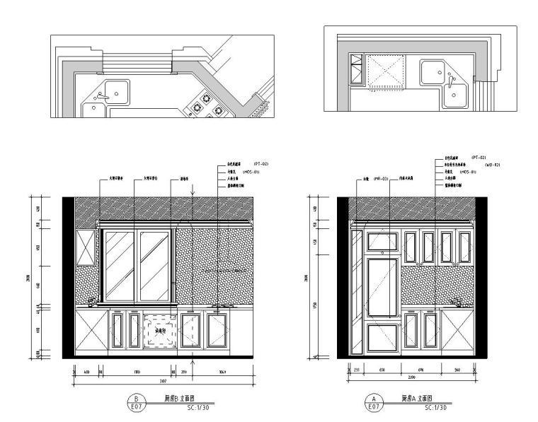 新古典样板房施工图设计(带效果)-厨房B 立面图