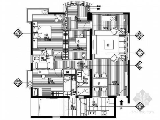 [广东]名城小区现代风格三居室样板间室内设计装修施工图