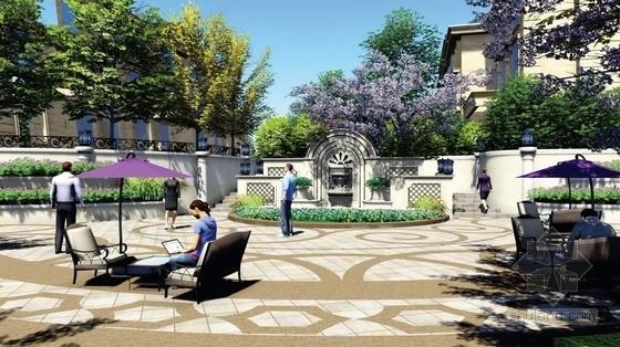 [天津]典雅欧式风情住宅小区附属景观设计方案(超精美效果图)-景观效果图