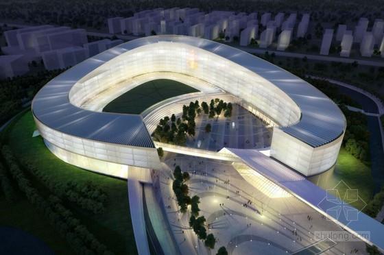 [南京]知名电器电商总部办公基地规划设计方案文本(弧形多层建筑围合图片