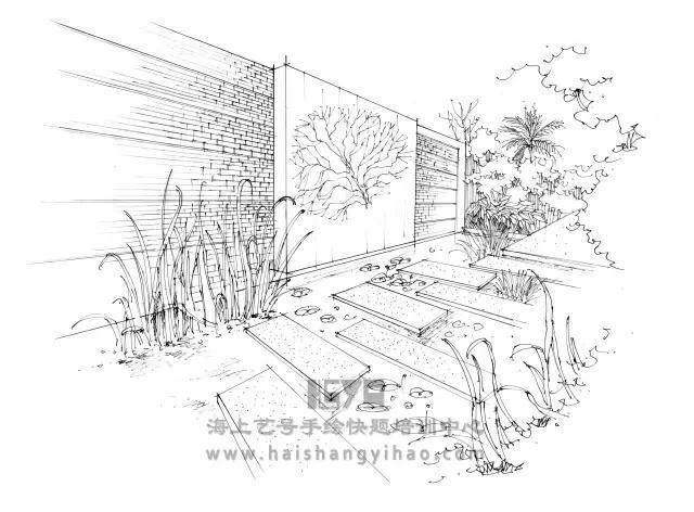 庭院简笔画-景墙的画法步骤图解析 庭院中间有道墙