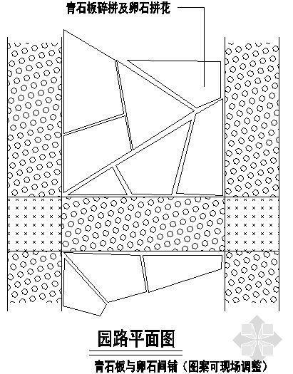青石板与卵石间铺装平面图